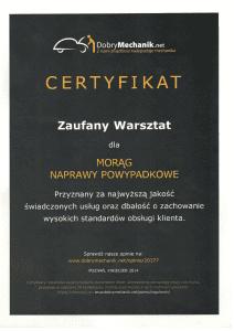 Certyfikat Dobry Mechanik